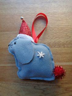 Handmade Grey felt Christmas Lop eared Bunny Rabbit hanging decoration by CraftyBunnyDog on Etsy
