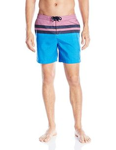 Original Penguin Mens Chambray Stripe Print Fixed Volley Swim Trunk Directoire Blue 34 <3 Click the swimwear image to view the details