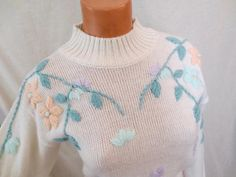 Sweet embroidered spring sweater - sz XS/S - $30 on Etsy #vintagesweater #springfashion #floral #embroidery #embellished #white #pastel #mint #peach #lavender #sweater #soft #knit #eighties #vintageclothing #Etsy #JohnnyBombshell