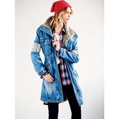 Free People Rendered Denim Parka (7.625 UYU) ❤ liked on Polyvore featuring outerwear, coats, blue, blue parka coat, denim coats, free people parka, parka coat and free people coat