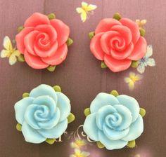 Color Handmade Delicate Clay Art Pretty Rose Earrings