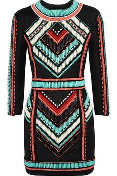 Balmain | Embellished basketweave mini dress | NET-A-PORTER.COM
