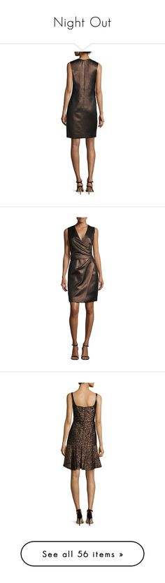 """""""Night Out"""" by funnfiber ❤ liked on Polyvore featuring dresses, metallic dress, no sleeve dress, sleeveless wrap dress, wrap dress, sleeveless dress, bronze, brown wrap dress, ruched dress and j mendel dresses"""