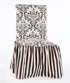 Brown Microfiber Ruffled Damask & Stripe Dining Chair Slipcover