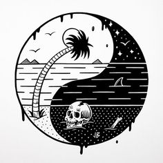Jamie Browne - Artist / Illustrator and Volcom Ambassador Posca Art, Totenkopf Tattoos, Vegvisir, Skull Art, Yin Yang, Dark Art, Body Art Tattoos, Cool Art, Art Drawings