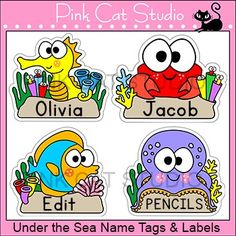 These fun sea / ocean animals name tags and labels will look fantastic in your classroom! These would make great bin or basket labels, job cards, flash cards, locker labels and name tags. Includes a seahorse, a crab, a fish and an octopus.