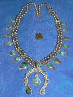Exquisite Vintage Native American Turquoise and Silver Squash Blossom Necklace