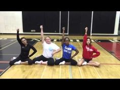 The team shows off some of the cheers we can use during basketball games - these are mostly just the words and beats to the cheers, not the motions or shapes. Basketball Cheers, Softball Cheers, Basketball Floor, Basketball Season, Basketball Games, Cheer Camp, Cheer Coaches, Cheer Stunts, Cheer Dance