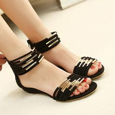 Black + Metal Accented Ankle Sandals