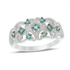 Zales 1/5 CT. T.W. Enhanced Blue Diamond Vintage Style Filigree Ring in Sterling Silver