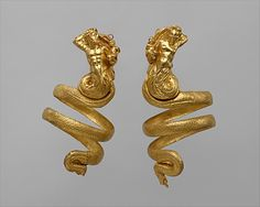 Pair of gold armbands   Period: Hellenistic Date: ca. 200 B.C. Culture: Greek