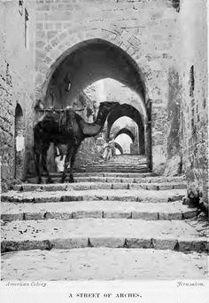 A street scene in the old city of Jerusalem, circa 1913