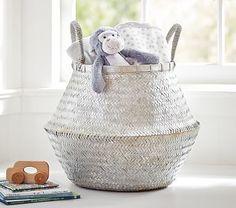 """Large Silver Metallic Basket.   Sale, $79.99.   19.75"""" diameter, 21"""" high. #pbkids"""
