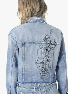 Joe's Jeans The Boyfriend Jacket - Jacinda XS Painted Denim Jacket, Painted Jeans, Painted Clothes, Diy Clothing, Custom Clothes, Denim Jacket Embroidery, Embroidered Denim Jacket, Denim Art, Denim Ideas