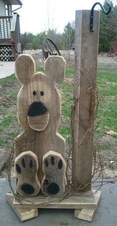 Bear. old fencing wood