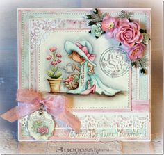 LOTV - Glamorous Gardening by Dena Concienne Tag Craft, Card Making Designs, Card Designs, Whimsy Stamps, Beautiful Handmade Cards, Easel Cards, Lily Of The Valley, Copics, Kids Cards