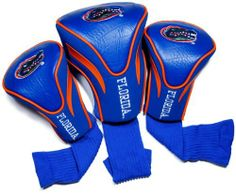 NCAA Florida Gators 3 Pack Contour Golf Club Headcover by Team Golf. $29.99. 3 stylish contoured headcovers made of buffalo vinyl and synthetic suede like materials numbered 1,3 and X. The #1 fits all oversized drivers and the nylon sock protects shafts from damage. 3 location team embroidery. Set includes 3 stylish contoured headcovers with innovative materials and sleek design - numbered 1,3 and X.  The #1 fits all oversized drivers and the nylon sock protects shafts from...