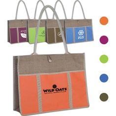 "This jute panel tote bag is not only fashionable but useful! Measuring 17.5"" x 13.75"" with a 4.75"" gusset, this bag features 28.5"" x .625"" reinforced tube straps, a large capacity compartment, button and loop fastener, and a front 17"" x 9"" Velcro pocket. This eco-friendly product is both reusable and recyclable. Offered in multiple color options, customize this bag with a silkscreen imprint for some added exposure. This tote makes..."