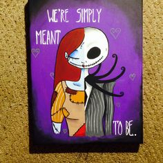 Jack and Sally (Nightmare before Christmas) canvas painted by me.