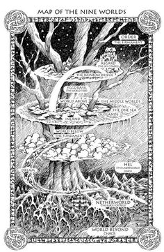 Old Norse Cosmology: Map of the Nine Worlds as depicted in the fantasy series Runemarks by JoAnne Harris Fantasy World Map, Fantasy Series, Dragons, Asgard, Old Norse, Mystique, Norse Mythology, Illustrations And Posters, Magick