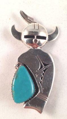 Navajo Handmade Nelson Morgan Sterling Silver Turquoise Kachina Pin Pendant | eBay