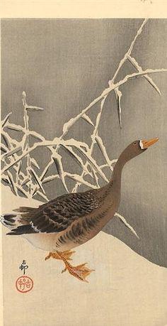 Goose on the snow - Ohara Koson