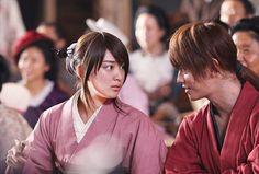Emi Takei as Kaoru Kamiya and Takeru Sato as Kenshin Himura. Rurouni Kenshin live action.