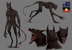 werewolves of the world: australia 1 by Senkkei on DeviantArt Dark Creatures, Mythical Creatures Art, Mythological Creatures, Weird Creatures, Monster Concept Art, Fantasy Monster, Monster Art, Monster Design, Creature Concept Art