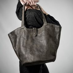 Gray Leather Basket Bag