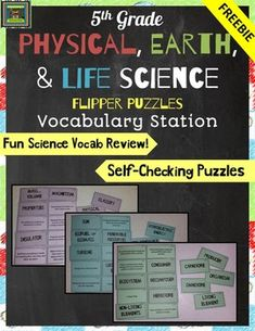 Easy, fun way to help your students learn science vocabulary AND prepare for the 5th grade science STAAR test! PRODUCT DESCRIPTION*This product is designed to help students master academic vocabulary and can be used to supplement a well-balanced science curriculum.*Students match words and definitions, then flip the board to reveal a simple science image*Flipper Puzzles are self-checking and give kids practice with essential science vocabulary*This FREEBIE includes 3 puzzles (30 words)…