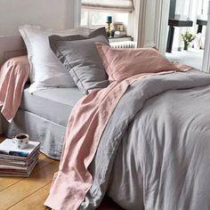pink grey linen