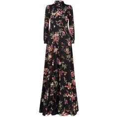 Dolce & Gabbana Long Sleeve Floral Gown (602775 RSD) ❤ liked on Polyvore featuring dresses, gowns, embellished gown, long sleeve evening dresses, long-sleeve floral dresses, floral print evening gown and fit-and-flare dress