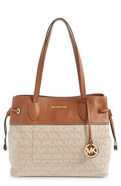 MICHAEL MICHAEL KORS 'Large Marina' Drawstring Logo Tote. #michaelmichaelkors #bags #shoulder bags #hand bags #leather #tote #cotton