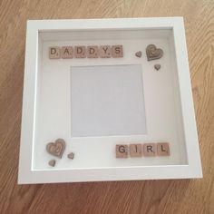 Handmade Daddy's Girl Fathers Day Gift Scrabble Art Frame in Home, Furniture & DIY, Home Decor, Photo & Picture Frames Fathers Day Frames, Fathers Day Pictures, First Fathers Day Gifts, Gifts For New Dads, Fathers Day Cards, Daddy Gifts, Handmade Father's Day Gifts, Diy Father's Day Gifts, Father's Day Diy