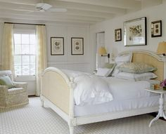 calm coastal bedroom- i love this, but can only imagine the mess my kids would make out of a white comforter! maybe someday :).