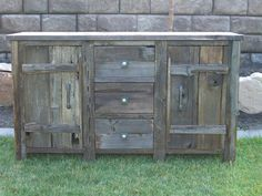 Reclaimed barn wood console