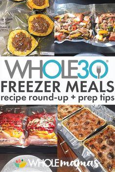 Freezer Meals - gluten-free, dairy-free, Paleo freezer meal recipe round up and prep tips Premade Freezer Meals, Make Ahead Freezer Meals, Dump Meals, Freezer Cooking, Healthy Premade Meals, Healthy Crockpot Freezer Meals, Freezer Meal Recipes, Chicken Freezer Meals, Whole Food Recipes