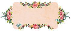 Tag rosa com bordas de flores e pássaros