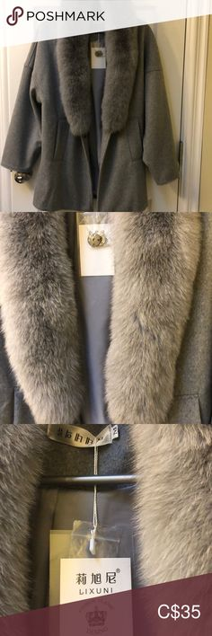 Brand new coat with detachable fur. Coat with detachable fur. I don't like fur so I 'm selling it. Brand new. Size M. Gray Color, Fur Coat, Jackets For Women, Brand New, Product Description, Coats, Best Deals, Closet, Things To Sell