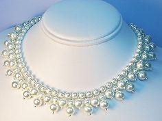 Vintage Pearl Choker Necklace Retro 1920s 1940s Wedding Bridal SALE