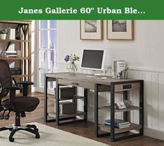 """Janes Gallerie 60"""" Urban Blend Storage Desk - Driftwood/Black. Description: Complete your home office with this urban tech desk. Features a built in USB port and AC plug-in for additional power supply. Its open side shelving and pull-out drawer provide ample storage space to fit your office essentials. Crafted from high-grade MDF and powder-coated metal legs for a sturdy yet stylish office desk."""