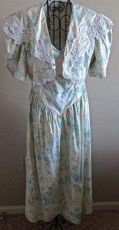 Vintage Scott McClintock 2 Piece Tea Dress Gown Cropped Jacket Floral Lace12 #ScottMcClintock