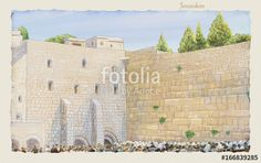 """Download the royalty-free photo """"Western Wall Jerusalem, prayer. David's city - old city of Jerusalem. Kotel  Israel. Rosh Ha Shana. Sukkot. Illustration. Hand Drawn. Kotel Watercolor. Slichot. Jewish Holiday Religion Tradition Torah"""" created by sofiartmedia at the lowest price on Fotolia.com. Browse our cheap image bank online to find the perfect stock photo for your marketing projects!"""