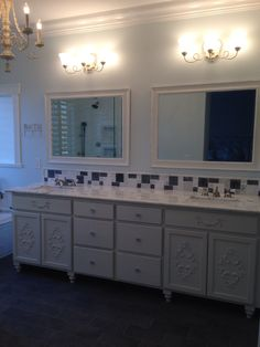 Bath remodel Shabby Chic vanity and Carrara marble top