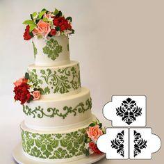 Damask Cake Stencil Set Tier #3 , Border Decorating Pattern, Cake Side Lace Stencil, Fondant Cake Decorating Tools