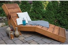 Kick back in comfort outside with this great-looking outdoor chaise lounge. It's built with a shape that cradles your body and keeps you from sliding down. The shape doesn't add much challenge to the build, though. Just cut a few pieces at an angle with your miter saw, and you're all set.