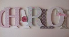 Wooden letters for nursery in pink, aqua, gray and khaki by SummerOlivias on Etsy https://www.etsy.com/listing/201693189/wooden-letters-for-nursery-in-pink-aqua
