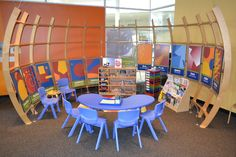 Explore the Language of Art -- A semicircular structure depicts the six elements and six principles of design from Allen Leepa's book, The Challenge of Modern Art. Visitors can make a work of art with paper and markers at the children's art table or explore enriching puzzles, books, games and sculptural forms.