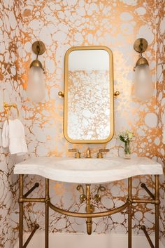 Unlacquered Brass | Joel Mozersky Designs | Henry Faucet | Stone Forest Petite Renaissance Washstand Calico wallpaper bathroom powder room waterworks