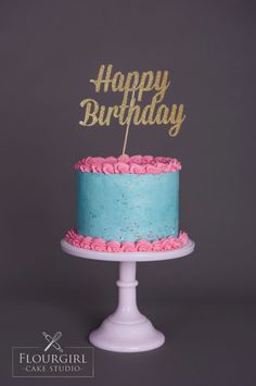 Pink and Blue Buttercream Cake. Traditional Buttercream Cake. Sprinkle Buttercream Cake.